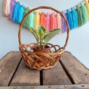 Vintage Boho Mini Open Weave Wicker Handled Basket